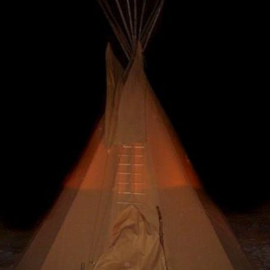 The tipi on a winter night
